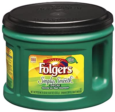 Folgers Simply Smooth Decaf Ground Coffee, Medium Roast, 23 Ounce (Pack of 6)