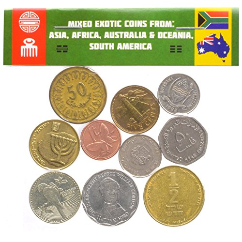10 Exotic Coins from Asia, Middle East, Africa, Oceania, South America. Collectible Coins, Old Coins for Your Coin Album, Coin Bank or Coin Holders