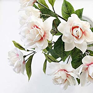 DecoForU 2 Packs Artificial Flowers Gardenia Silk Flowers Arrangements for Home Wedding Party Decoration (Pink) 4