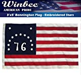 American Bennington Flag 3x5 Ft with Embroidered Stars, Sewn Stripes and Long Lasting Nylon