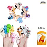 Image of 16PCS Finger Puppets Set Novelty Educational Toys including 10 Animals + 6 People Family Soft Velvet Dolls Props Toys for Baby Story Time, Shows, Playtime,Schools Great for Kids with Adorable Gift Bag