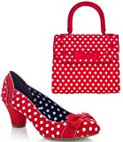 Ruby Shoo Women's Red Spot Hayley Court Shoe Pumps and Matching Santiago Bag UK 3 EU 36