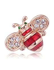 Acefeel Red Enamel Clear Crystal Small Bee with Green Eyes Insect Brooch Pin for Birthday Gift BR014