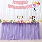 B-COOL Tulle Tutu Table Skirt Light purple 2 Yards Dining Table Skirt for Wedding Baby Shower Girl Princess Birthday Party Decor(L6(ft) H 30in)