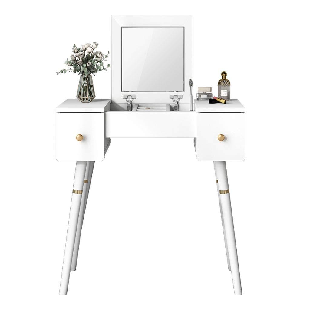 Liangzishop Schminktisch Kosmetiktisch Schminktisch Schlafzimmer Einfache Moderne Schminktisch Flip Spiegel und 2 Schubladen praktische Möbel (weiß) mit Spiegel Frisiertisch