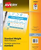 """Avery Standard Weight Clear Sheet Protectors, Acid-Free, Archival Safe, Top Loading, Fits 8.5"""" x 11"""", 50 Sheets (74305)"""