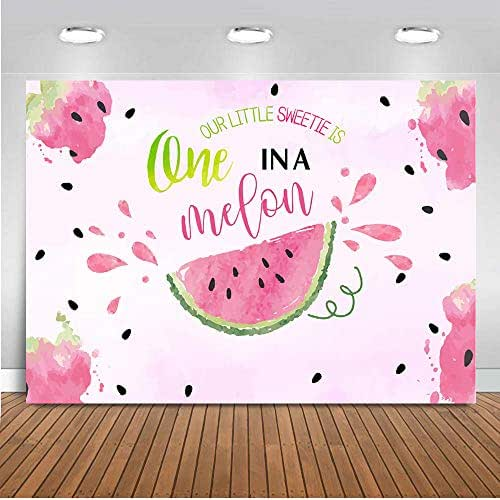 LTLYH 7x5ft Watercolor Summer Fruit Watermelon Theme One in a Melon Photography Pink Melon Backdrop Girl Birthday Party Baby Shower Banner Dessert Table Decorations A055