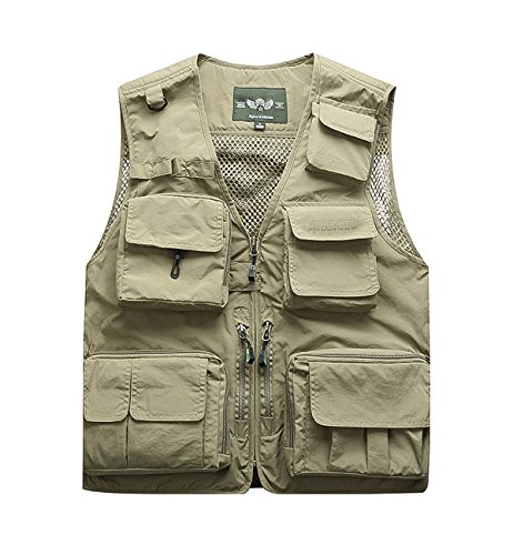 Hilarocky Multi-Pockets Vest Men's Outdoor Quick Dry Mesh Fly Fishing Zipped-up Vest Lightweight Mesh Fabric Reversible Outdoor Casual Vests for Travelers, Sports, Hiking