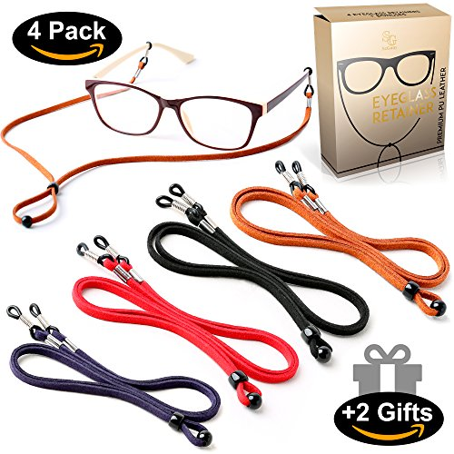 Eyeglasses Holder Strap Cord - PREMIUM ECO LEATHER Eyeglasses String Holder Chain Necklace - Glasses Cord Lanyard - Eyeglass Retainer (Cord Eyeglass)