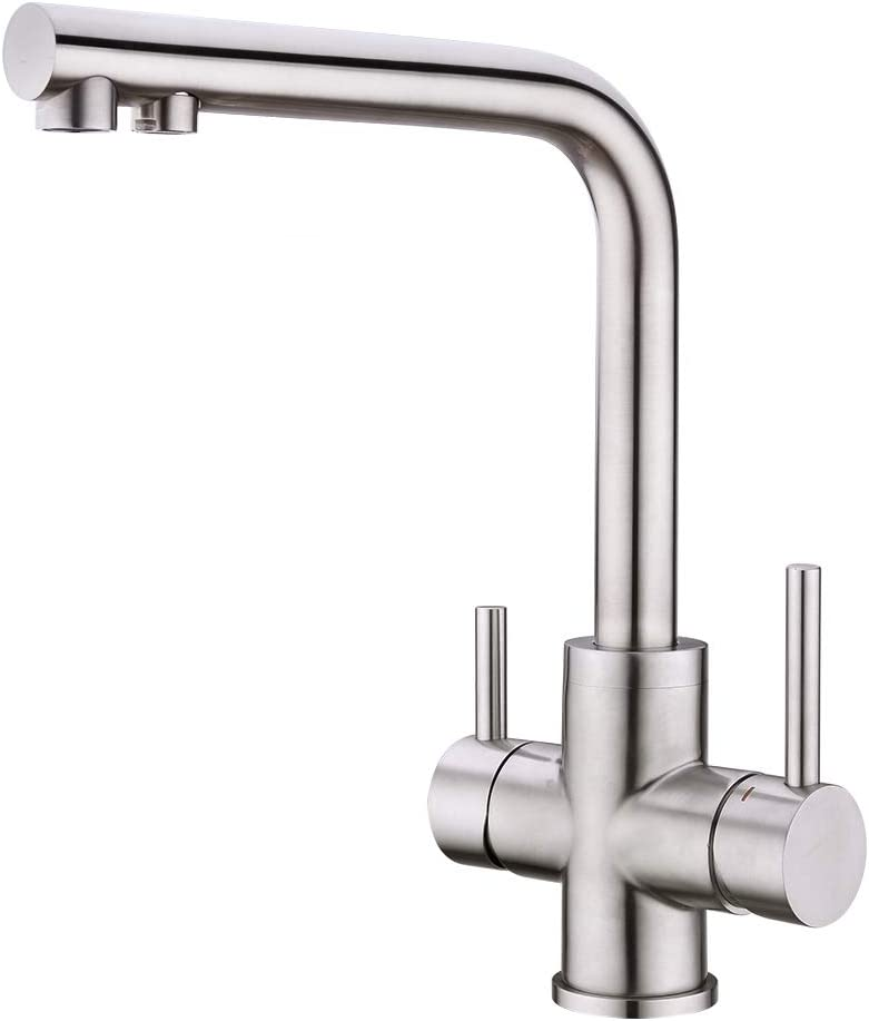 CREA 3 Way Kitchen Tap with Water Filter Way Drinking Water Kitchen Sink Tap 360° Swivel Spout 2 Lever Kitchen Mixer Stainless Steel