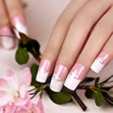 ArtPlus 24pcs Pink with Petal Elegant Touch False Nails Full Cover French Manicure Long Length with Glue Fake Nails Art