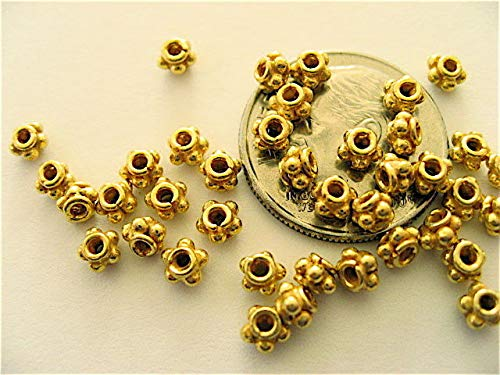 10 Bali Sterling Silver Vermeil Single Ring Daisy Spacer Beads 3.5mm