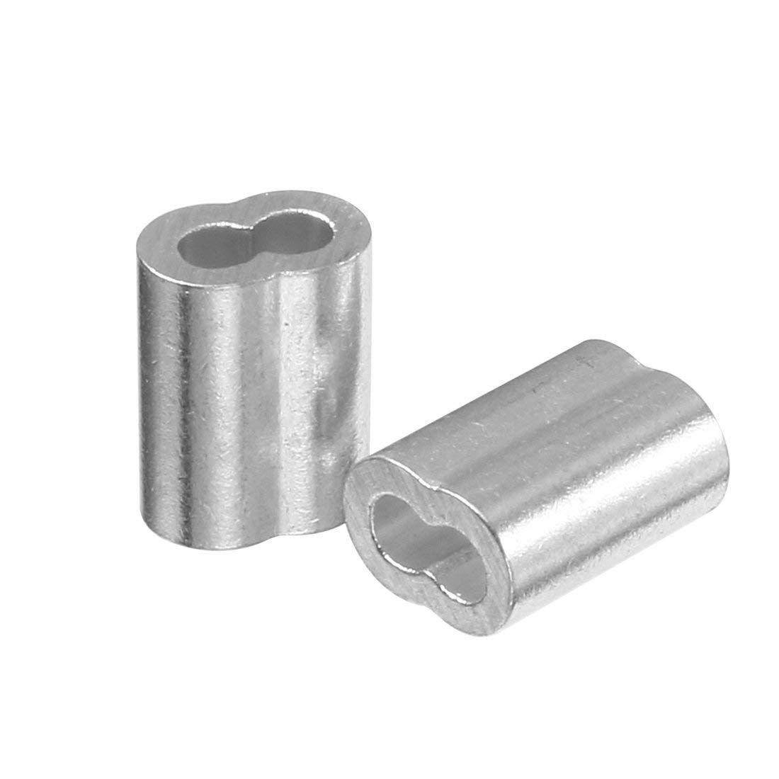 Durchmesser Drahtseil Aluminiumhuelsen Clip Armaturen Kabel Kraeuselungen 100 Stueck 2 mm SNOWINSPRING 5//64 Zoll