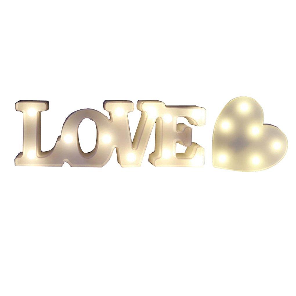 Love Signライト、CoxeerマーキーSign Night Light 3d I Love UハートLove LEDインテリアライトバレンタインの日   B0786ZM14T
