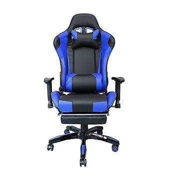HG® silla giratoria de oficina silla de juego confort premium reposabrazos acolchados silla de carrera capacidad de carga 200 kg altura ajustable negro ...