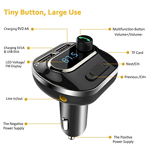FM Transmitter, Bcway Wireless Radio Adapter Bluetooth Car Kit MP3 Player, 5V/3.1A Dual USB Ports Car Charger, Support TF Card + U Disk, Hands Free Calling for iPhone, Samsung, etc by AYY (Image #7)