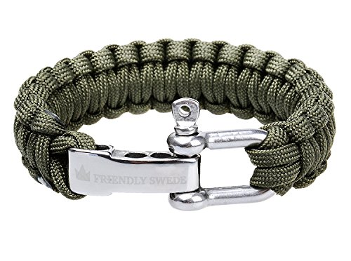 The Friendly Swede (TM Premium Paracord Survival Bracelet With Stainless Steel D Shackle - Adjustable Size Fits 7-8 Inch Wrists - In Retail Packaging (Army Green)