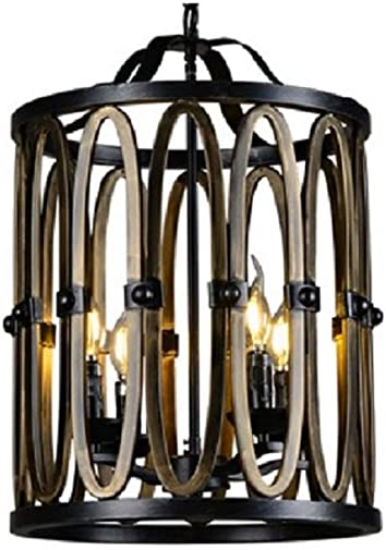 A Touch of Design Wrought Iron Chandelier – Modern 4-Light Cage Chandelier with Adjustable Chain – Industrial Hanging Light Fixture
