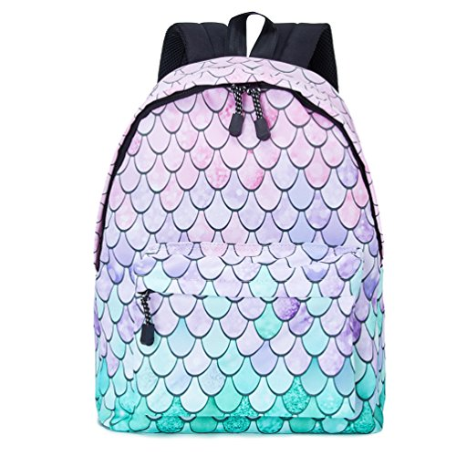 Uideazone Bookbags for Girls Mermaid Fish Scale Printed School Backpack College Students Canvas Book Bags with Multi-Pockets Shoulder Bag -