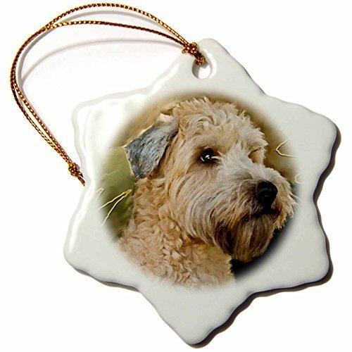 Enidgunter Soft Coated Wheaten Terrier Portrait Porcelain Snowflake Decorative Hanging Christmas Ornament 3 inch