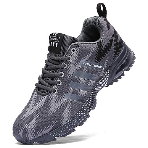 AHICO Mens Tennis Shoes - Air Cushion Running Shoe Men Sneakers Lightweight Walking Breathable Men's Athletic Cross Training Sport Gray Size 8