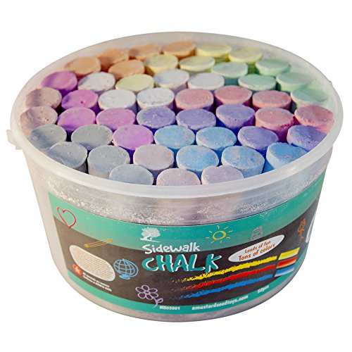Non-Toxic Jumbo Sidewalk Chalk - Round, Tapered Diameter Means They Won't Roll Away, Works Well On Chalkboard Paint, Concrete, Asphalt and More (Non Toxic Stains)