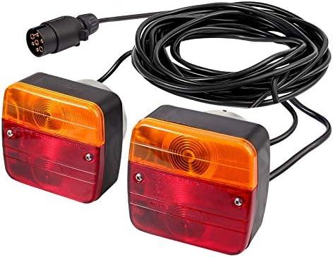 AUTOUTLET Rückleuchten Set für PKW-Anhänger, mit Magnet verkabelt - 7m Kabel, 7 poliger Stecker, Anhängerbeleuchtung mit E-Standard für Straßenverkehr zugelassen