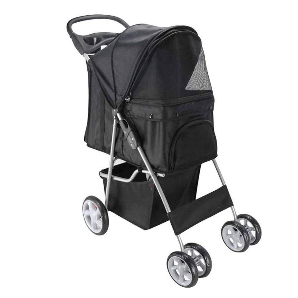 BLACK GHMHJH Lightweight Folding Pet Stroller, Dog Cat Four-wheeled Pet Stroller, Collapsible Pet Car (color   BLACK)