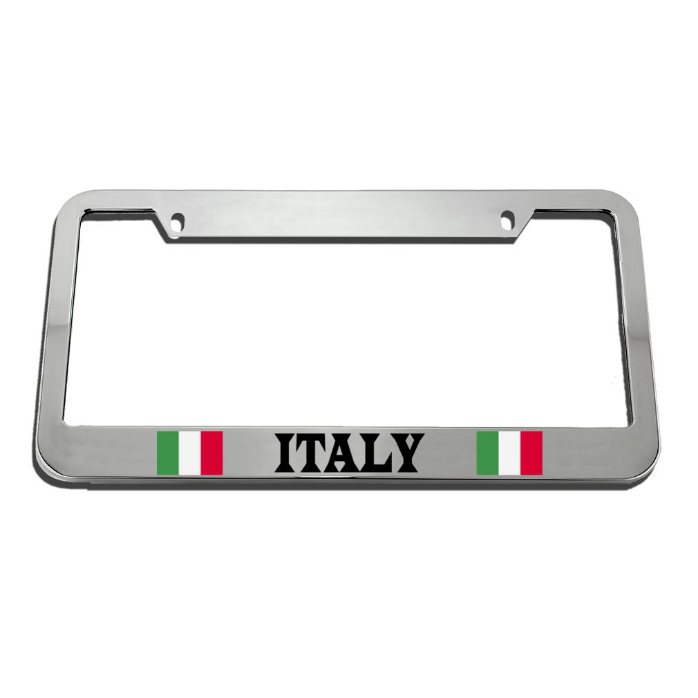 Speedy Pros Italy Italian Flag White License Plate Frame Tag Holder