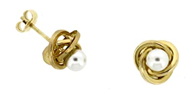 Adara 9 ct Yellow Gold Knot Studs XiuCXl5b