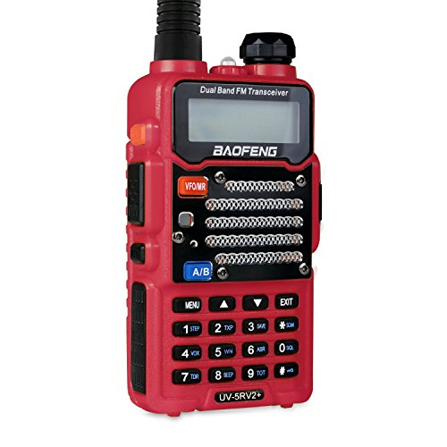 Baofeng Red UV-5R V2+ (USA Warranty) Dual-Band 136-174/400-480 MHz FM Ham Two-way Radio, Improved Stronger Case, Enhanced Features