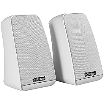 Besteye BE-829 USB Speakers for Computer Laptop Notebook Plug and Play with Enhanced Bass Resonator Stereo Sound PC Computer Speaker White