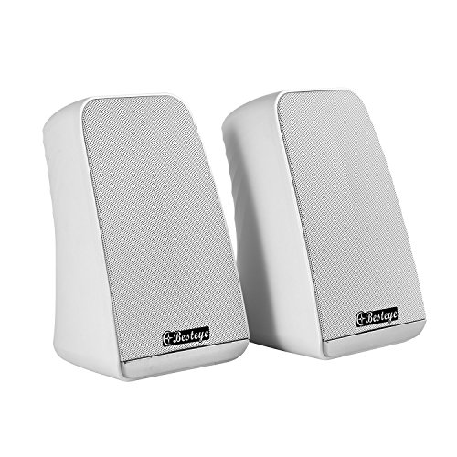 Besteye BE-829 USB Speakers for Computer Laptop Notebook Plug and Play with Enhanced Bass Resonator Stereo Sound PC Computer Speaker White by Besteye