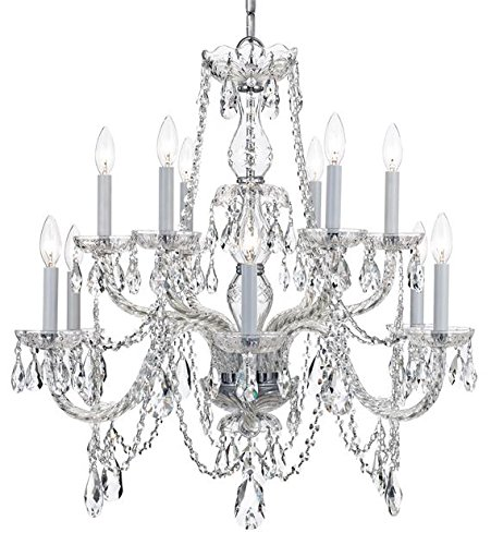 12 Light Chand - Crystorama Lighting Group 1135-CL-I Traditional Crystal 12 Light Two Tier Adjust, Polished Chrome / Clear Italian