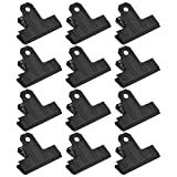 Bluecell 12pcs Black Color 2.6inches Large Metal Binder Bulldog Clips Hinge Paper Clips Clamps for Office and School