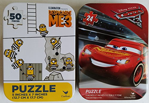 2 Collectible Girls/Boys Mini Jigsaw Puzzles in Travel Tin Cases: Disney Kids Cars and Despicable Me 3 Gift Set Bundle (24/50 Pieces)