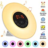 Wake Up Light,Elfeland Alarm Clock LED Bedside Lights Touch Control Night Light with Sunrise & Sunset Simulator Mode 6 Nature Sounds & 7 Colors Light Modes FM Radio Function Snooze Function 10 Dimming Brightness Levels Ideal for Home Bedroom & Gif