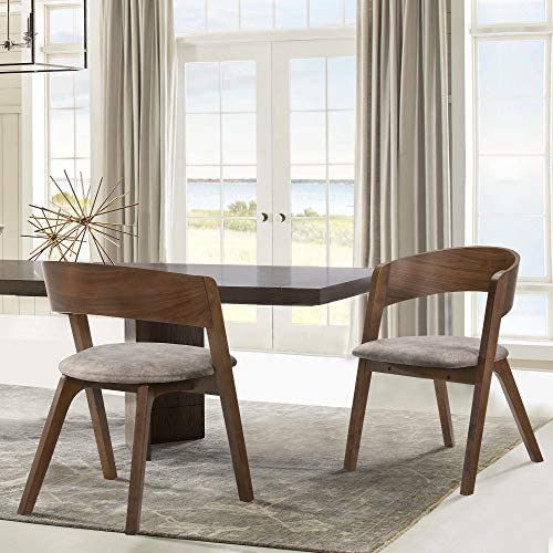 Armen Living Jackie Mid-Century Modern Dining Accent Chairs Finish Fabric-Set of 2
