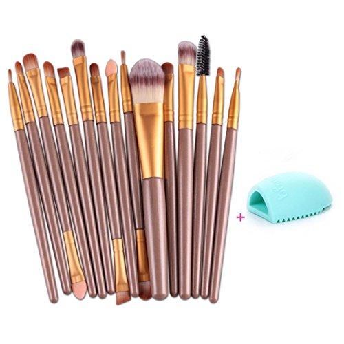 Toraway 15 pcs/Sets Eye Shadow Foundation Eyebrow Lip Brush Makeup Brushes Tool (Gold)