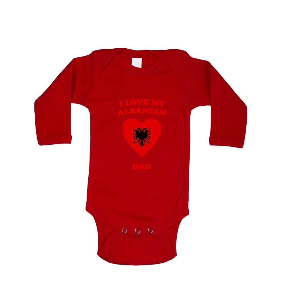 I love my ALBANIAN Dad Baby Long Sleeve Bodysuit One Piece BBLGLVCODI038