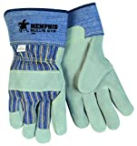 MCR Safety 1900S Bull's Eye Cow Leather Palm Men's Gloves with 2-3/4-Inch Safety Cuffs, Natural Pearl, Small, 1-Pair