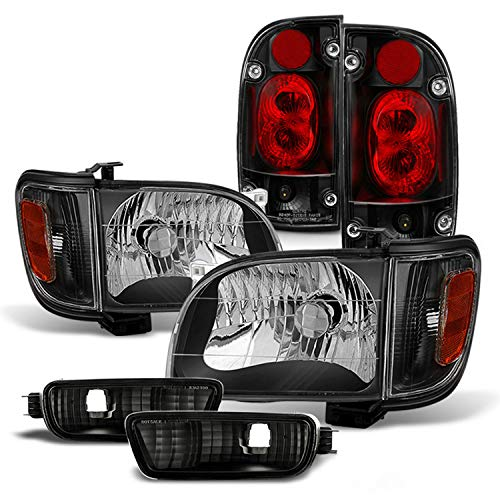 (Fits 2001 2002 2003 2004 Toyota Tacoma Pickup Black Headlights+ Corner+ Signal+ Bumper Lamp+ Blk JDM Tail Lights Pair )