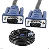 CableVantage HD15 15Pin VGA Male to Male VGA 50FT 15M Cable for TV Computer Monitor Blue for TV Computer Monitor Extension 50feet Cable