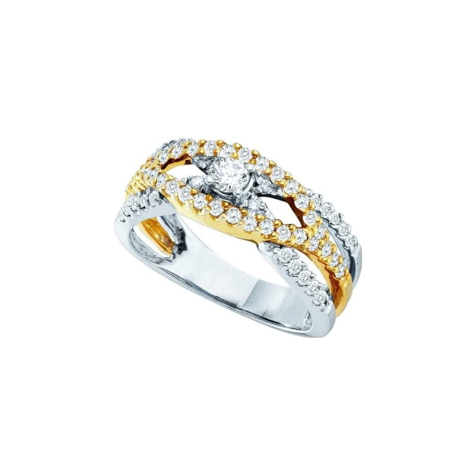 Ladies 14k White Yellow Gold .75ct Round Cut Diamond Engagement Wedding Bridal Band Ring Set Jewelry
