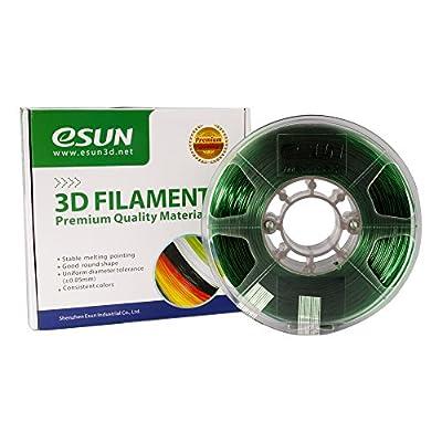 eSUN 3D 1.75mm PETG Green Filament 1kg (2.2lb), PETG 3D Printer Filament, Semi-Transparent 1.75mm Green