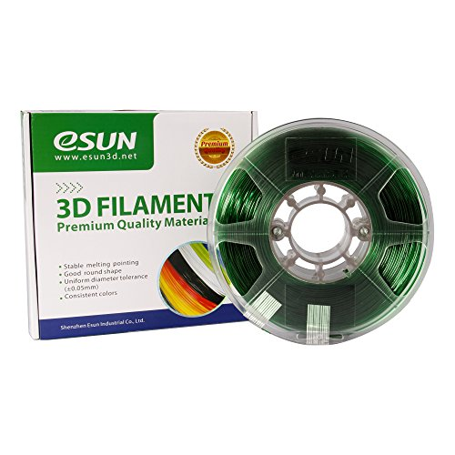 eSUN 3D 1.75mm PETG Green Filament 1kg (2.2lb), PETG 3D Printer Filament, Semi-Transparent 1.75mm Green by eSUN
