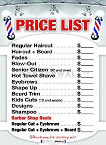 Amazon Com Barber Shop Price List By Barberwall Barber