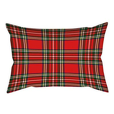 iPrint Cotton Linen Throw Pillow Cushion Cover,Red Plaid,European Western Culture Inspired Abstract Tartan Motif Vintage Classical Design Decorative,Multicolor,Decorative Square Accent Pillow Case