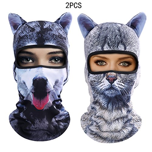 Outgeek Cat Mask, Women Men Balaclava Summer Full Face Hat Animal Ears Sports Helmet Climbing Fishing Cap (Cat and Dog) by Outgeek (Image #7)