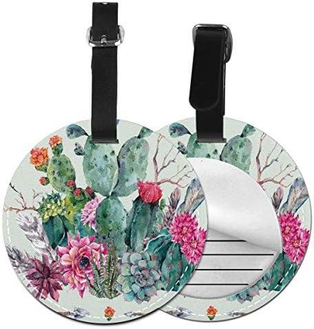 Ronde reisbagagelabelsLente tuin met Boho stijl boeket van doornige planten bloeit pijlen verenLederen bagage Tag